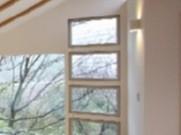 2階のリビングから森を眺める窓